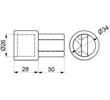 Koncovka spodní s drážkou pro o34mm, mosaz