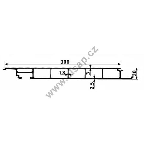 Profil podlahy 30x300mm zavřený, al