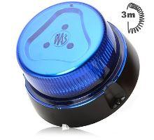 Maják modrý kryt,8 modů, magnet, W112, spirálový kabel 3m, zástrčka do autozapalovače