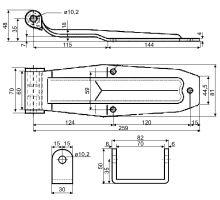 Pant zadních dveří 259 mm, komplet - zn