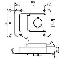 Zámek vestavný 119x92mm - nerez s nosem Zn.