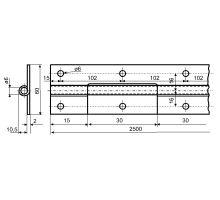 Pant klavírový 60x2500mm, nerez, nerezový čep