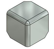 Kryt rohu skříně 90mm - nerez, pro profil 65 / 80 , R10