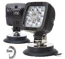 Pracovní světlo 9 LED 1300lm / 14,4W, W81 černé s vypínačem a magnetem, spirálový kabel 3m