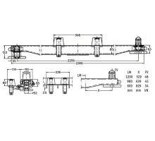 Nosník výměnné nástavby 160x85 s dírami, s držáky s rolnami