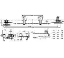 Nosník výměnné nástavby 200x100 s dírami, s držáky s rolnami