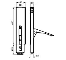 Sloupek ZP s lemem 400/80mm pro KT s NEW kapsou, protikusy pro šroubování
