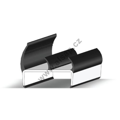 Těsnění PVC 55mm černé/šedé, 3 jazýčky, 3,2 m N