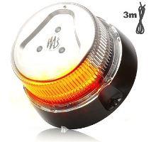 Maják oranžový čirý kryt, 1 mod, uchycení magnet, W126, kabel 3m