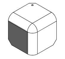 Kryt rohu skříně 110mm - RAL 5002 pro profil 90, R23