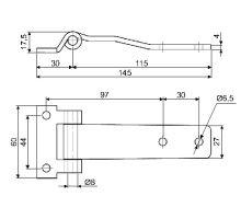 Pant bočních dveří 145mm, nerez, B