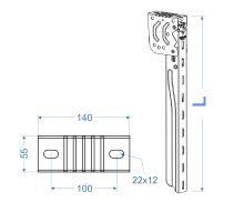 Držák boční zábrany 2017,  l = 430-710 mm, gzink,  s homologací E11, TAKLER