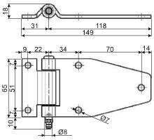 Pant bočních dveří 149mm, nerez