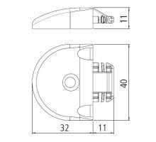 Koncovka pro lištu airline o20 mm al, 40x12,4 mm, plast