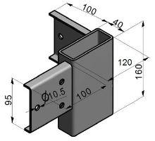 Spojka rohová pro drážku PP/ZL, 120/4/160, bez vrtání, žzink, 3 díry