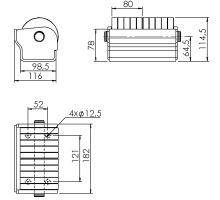 Odvalovací doraz 2 x o 100,185 x 118 x 111 mm, zn