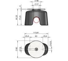 Aretace magnetická s dorazem pro tyčový uzávěr o27mm, nerez a guma