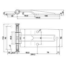 Pant bočních dveří T 209 mm, nerez