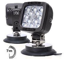 Pracovní světlo 12 LED 1750lm / 17W, W82 černé s vypínačem a magnetem, spirálový kabel 7m