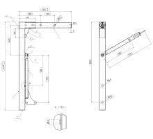 Noha pro výměněnné nástavby 1430 mm, 16 t, A1 SB4118SR DB 829, vzpěra bez brzdy 775/500 mm