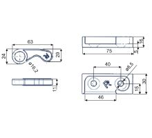 Sada háků a protikusů k závěru PUSH 25mm 2+2ks