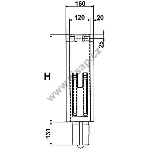 Sloupek sklápěče S44 střední,800 / 120 mm, do klínu - vysouvací