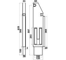 Sloupek sklápěče 120mm zadní Pravý