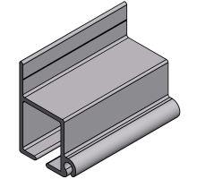 Hliníkový vodící profil 7800 x 75 x 43 mm