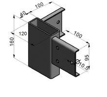 Spojka rohová pro drážku PL/ZP, 120/4/160, bez vrtání, žzink, 3 díry