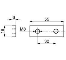 Destička závitová do profilu zábrany, zn 30 x 2 M8