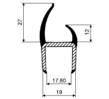 Těsnění PVC 18 mm šedé/černé, 2 jazýčky, 5 m