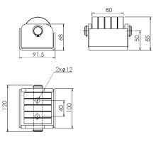 Odvalovací doraz 1 x o 70,100 x 85 x 91,5 mm