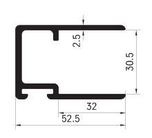 Profil lemu bočnice 30,5mm, pro těsnění 440102