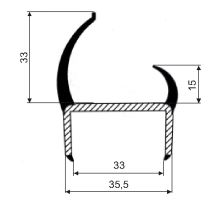 Těsnění PVC 35mm šedé/šedé, 2 jazýčky, 2,5 m
