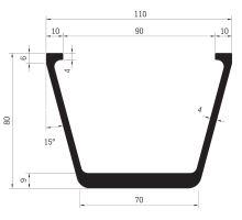 Profil podlahy příčný V 110 x 80 mm
