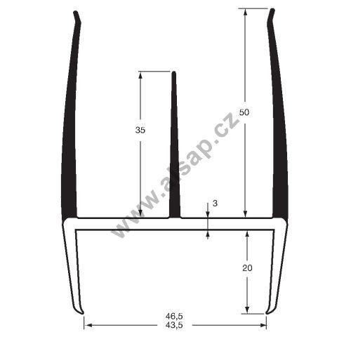 Těsnění PVC 43,5/46,5mm černé/šedé, 3 jazýčky, 2,7m