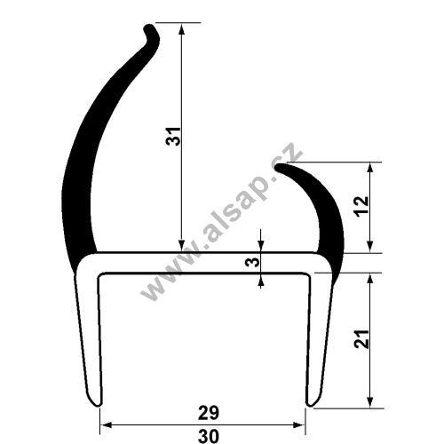 Těsnění PVC 30mm šedé/šedé, 2 jazýčky, 2,6 m