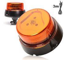 Maják oranžový kryt, 1 mod, uchycení na trubku o24mm, W126, kabel 3m