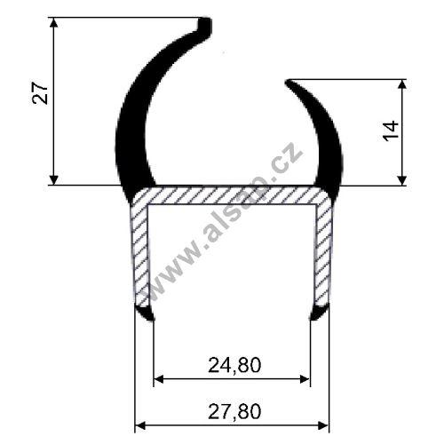 Těsnění PVC 25mm šedé/šedé, 2 jazýčky, 2,6 m