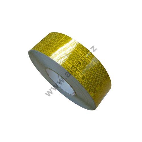 Reflexní páska samolepící žlutá - pevný povrch, 50m