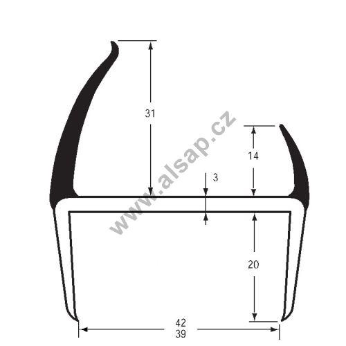 Těsnění PVC 39/42mm černé/šedé, 2 jazýčky, 5 m