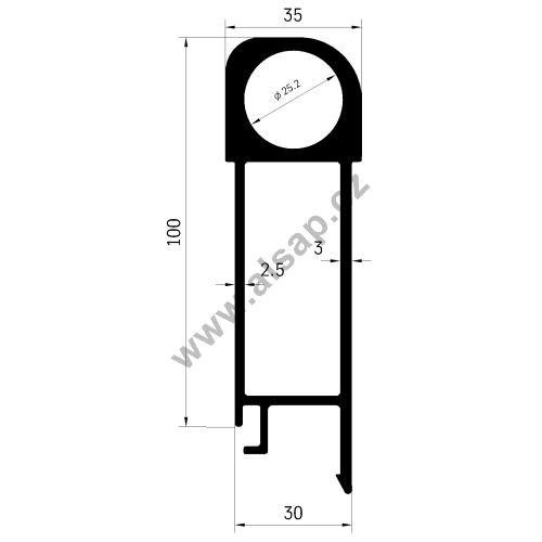 Profil bočnice sklápěče horní 100x30 mm, pro čep