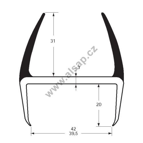 Těsnění PVC 39/42mm šedé, 2 stejné jazýčky, 5 m
