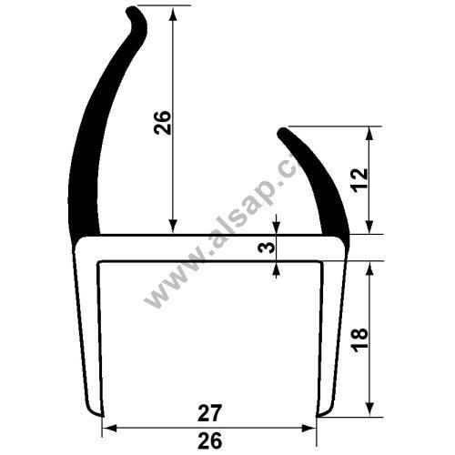 Těsnění PVC 27mm černé/šedé, 2 jazýčky, 3,2 m