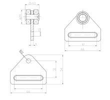 Vozík plachty CS-5,  pro popruh 50 mm, materiál 5 mm, ložiska o 24 mm