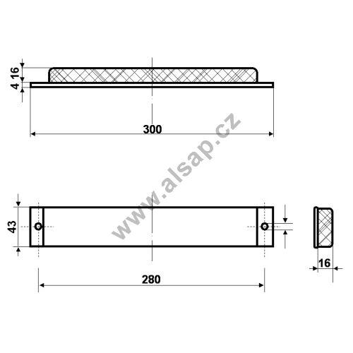 Silentblok pro sklápěč 300x43x20mm - ocel, guma
