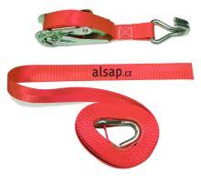 Popruh upevnovací s ráčnou 25mm, 0,5+4,5m EN 12195-2, červená - logo ALSAP
