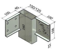 Spojka rohová PP/ZL, 100/4/40, žzin, předvrtaná