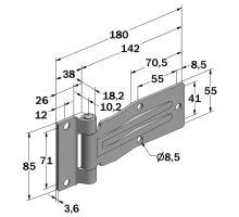 Pant bočnich dveří 180 mm, nerez, B