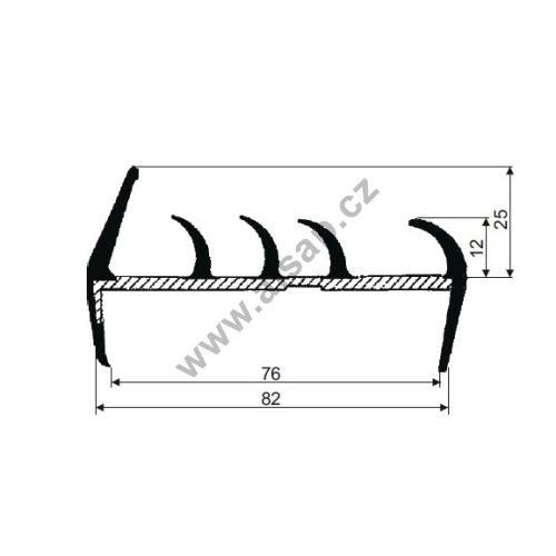 Těsnění PVC 80mm šedé/šedé, 5 jazýčky, 2,7 m